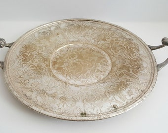 Vintage Mid-Century Silver Tapestry Serving Tray by Weidlich Brothers / Rose-Floral Pattern / Art Nouveau / Gold Tint