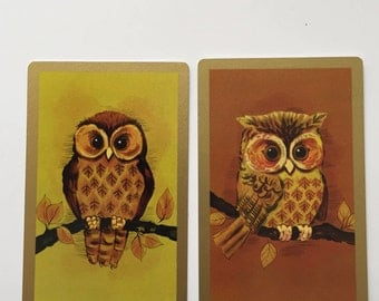 Owl Swap Cards / 2 Vintage CUTE OWL Playing Cards for Mixed Media, Collage, Journals, Smash Books, etc. New