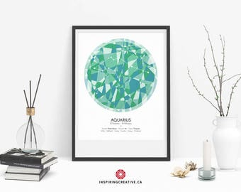 AQUARIUS Zodiac Constellation Poster - Abstract Modern Art Gallery Quality Giclée Print- Astrology and Horoscopes art print- Birthday gift
