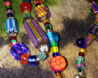 Colorful Glass Beaded Beauty With Silver Metal Perfume Bottle Pendant OAK