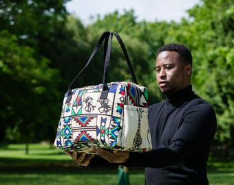 NEW!Afro HoldAll, Hand Stitched, Duffle Bag, Overnight bag, Luggage bag, African Print Bag, in Green Zulu Tribal Print by Afrocentric805