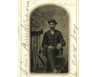 """Antique 1/6 Plate Tintype Photo: """"Jim Anderson, A Cowboy"""" [Grandma Mell's Cousin who went to Montana] (77593)"""