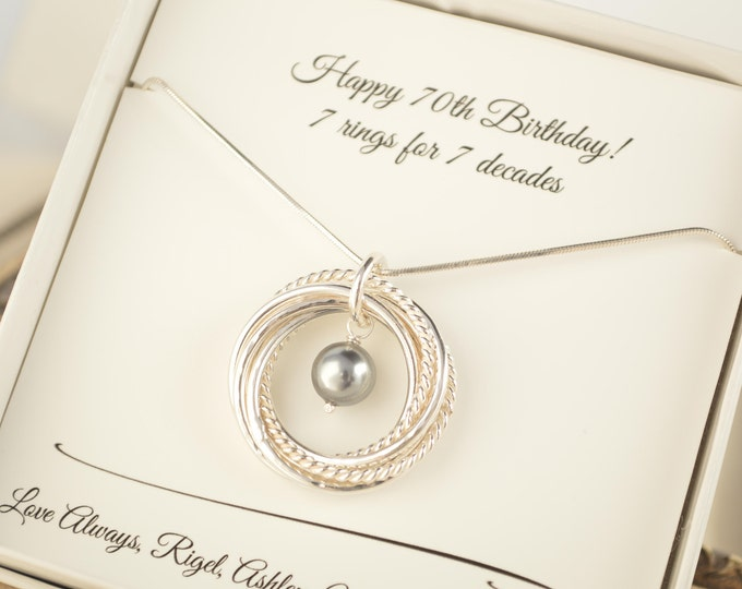 70th Birthday gift for mom, 7th Anniversary gift for women, 7  Interlocking rings necklace, Pearl necklace, 70th Birthday for grandma
