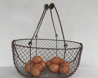 Large Vintage Wire Egg Basket with Double Wood Handles 14 x 10 Farmhouse Kitchen Display