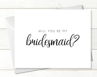 INSTANT DOWNLOAD x4 Will You Be My Bridesmaid Card, Wedding Card, Download Greeting Card, Be My Bridesmaid, Simple White Bridesmaid Proposal