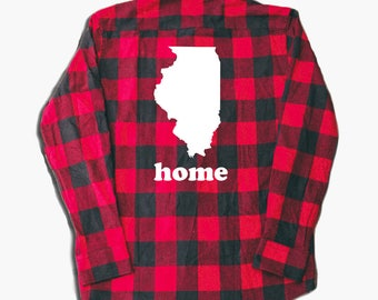 Home Flannel Shirt - Home shirt - california love - illinois love - texas love - home - hometown shirt - graphic flannel - red flannel