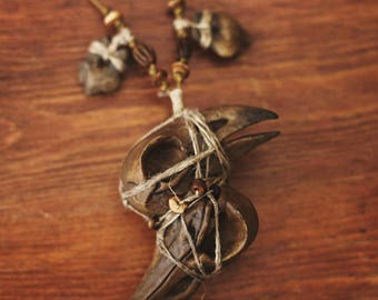 Bird Skull Pendant Necklace - Conjoined Twin - Witch Pagan Shaman - Faux Vegan