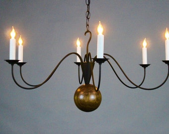 Kinderhook Chandelier, Walnut wood and wrought iron, 6 arms