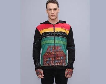 Men's Tribal Hoodie - boho jacket