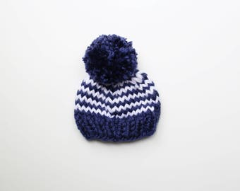 Newborn Baby Boy Hat, Knitted Baby Hat, Baby Shower Gift, Navy Blue and White Baby Beanie, Pom Pom Baby Beanie, Striped Navy Blue White Hat