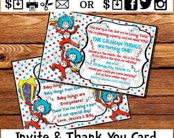 Dr. Seuss Twins Baby Shower Invite and Thank You Card Dr. Seuss Inspired Thing 1 thing 2  Birthday Party Invitation evite