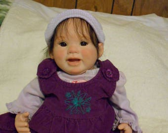 "Reborn Baby Girl ""Keira"" from the 'Punkin' Sculpt, NO Magnets! Lifelike, Realistic, Fake Baby, Newborn, Brown Eyes, by Babies4U Nursery"