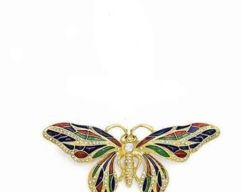 Jackie Kennedy Butterfly Brooch with Crystals, Box and COA