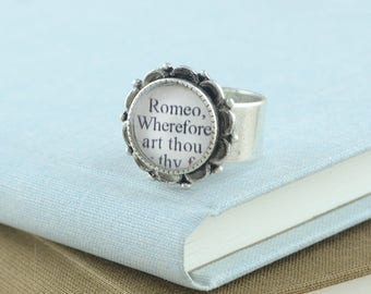 Classic Literature - Romeo and Juliet Ring – Shakespeare Jewelry - Shakespeare Gifts - Book Lover Jewelry