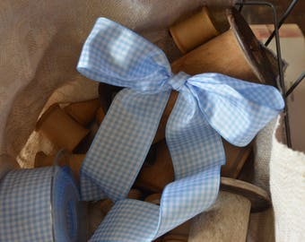 light blue and white check ribbon