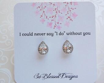 Bridesmaid Earrings, Teardrop crystal earrings, Crystal earrings, Cubic Zirconia stud earrings, bridesmaid gift