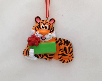 FREE SHIPPING Tiger Personalized Christmas Ornament / Zoo Animal Ornament / Toddler / Hand Personalized with Name or Message