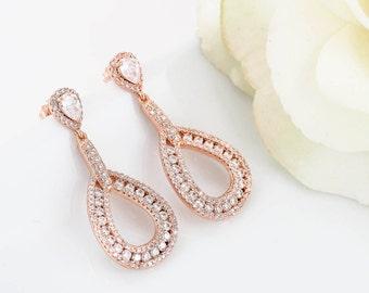 Rose Gold Wedding Earrings, Bridal Chandelier Earrings, Rose Gold Wedding Jewelry, Bridesmaid Earrings, Bridal Jewelry, Teardrop Earrings