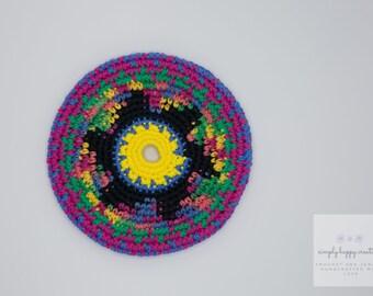 "Cotton Crochet Pocket Flying Disk Toy in Multi/Black--7.25"""