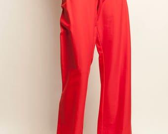 Marine style red high waist pants