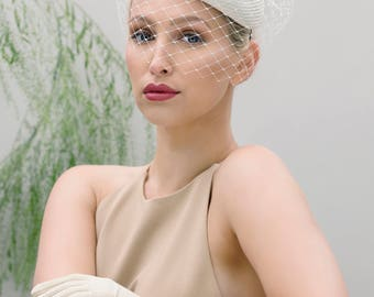 Birdcage Veil Bridal Hat, Summer Wedding Headpiece, Veiled Ivory Perch Hat -  Laurelia
