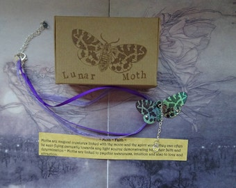 Shimmering Lunar Moth Ribbon Necklace