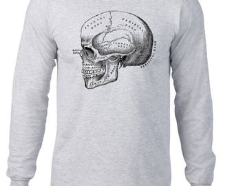 Long Sleeve Shirt, Anatomical Skull Tshirt, Anatomy T Shirt, Horror Tee, Vintage Medical Illustration, Ringspun Cotton, Mens Plus Size