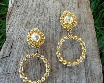 Roped dangle clip gold tone earrings