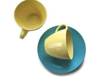 Melmac Cups and Saucers, Vintage Dinnerware Melmac, 1960's Drinkware, Royalon U.S.A.,Stylized Dinnerware Canada