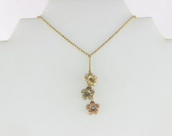 10K Yellow Gold Green Gold and Rose Gold 3 Flowers Lariat Necklace 17 inch chain and 1.5 mm wide