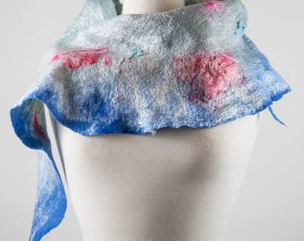 Grey and Blue Felt Scarf | felted scarf | Hand Dyed scarf| Nuno felt scarf| Gift | Felted scarves | Lacy scarf| silk | Unique Style