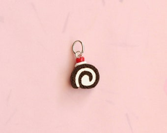 Miniature Roulade Cake Slice Charm, Miniature Food Jewelry
