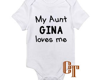 My aunt loves me etsy my aunt loves me custom name funny niece nephew baby girl boy unisex infant onesie shower negle Choice Image