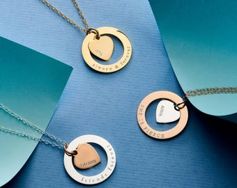 Personalised Heart Halo Necklace - Large Circle Necklace 25mm - Personalised Necklace - Message Necklace - Anniversary Necklace