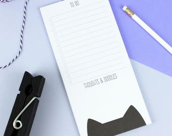 Cat to do list notepad, cute stationery birthday gift for cat lover, teacher gift