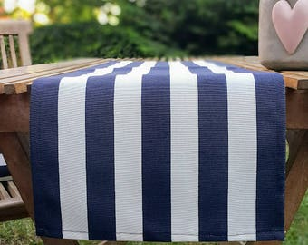 Navy White Stripe Table Runner, Premium Cotton table runner, Water Resistant Stain Resistant Table Runner, Table Cloth, Nautical table