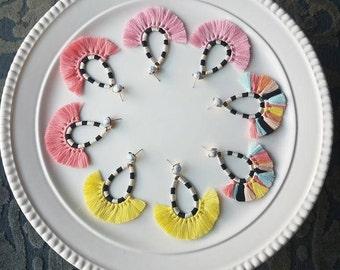 Fan tassel earrings | Tassel earrings | bohemian earrings | hot pink tassel earrings | Yellow tassel earrings | coral tassel earrings |