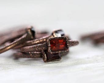 Garnet Ring Electroformed January Birthstone Copper Ring Stone Ring Faceted Garnet Natural Stone Delicate Ring Deep Red Garnet