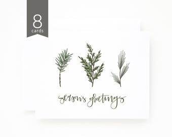 Christmas Card Set of 8  | Hand Lettered and Illustrated Holiday Card Set, Pine Season Christmas Cards