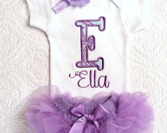 Lavender baby coming home outfit personalized bodysuit tulle ruffle bloomer skirt flower headband turquoise newborn baby girl shower gift