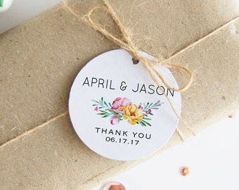 Wedding Gift Tags, Floral Thank You Tags, 24 Customized Favor Hangtags, Bridal Shower Tags