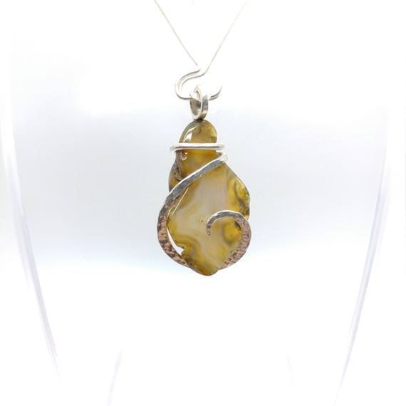 Oregon Beach Agate Pendant | Sterling Silver | Natural Stone Necklace | Gift for Mom | Gemstone Necklace | Gemstone Pendant
