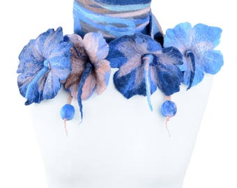 Nuno felt flower scarf in blue & pink for women and girls - versatile, feminine, romantic scarf with lovely design and delicate colors [S33]