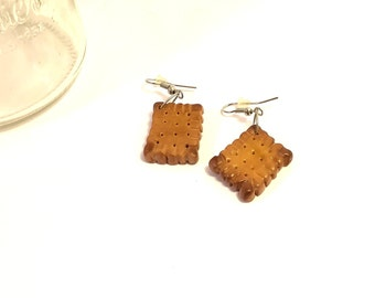 Fancy biscuit Brown lulu, handmade fimo earrings handmade, unique 2, 5 cm x 2 cm