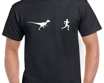 Funny Velociraptor Running Shirt - Funny T-Shirt - Dinosaur T-Shirt - Many Colors Available