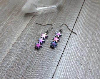 Iridescent Star Earrings, Celestial Rainbow Earrings, Constellation Earrings, Unicorn Star Earrings