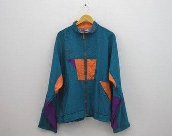 Puma Windbreaker Vintage Puma Jacket 90s Puma Vintage Colorblock Casual Activewear Mens Size L