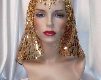 Gold Cleopatra Headpiece, Egyptian Inspired Nemes, Sequin Cleopatra Headdress