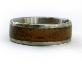 Hammered Titanium With Walnut, Foresters Ring, Walnut Wood Rings, American Wood Ring, Boat Ring, Boating Gift, Sailing Gift, Sailing Ship