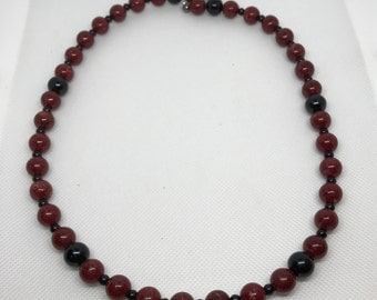 Beaded Necklace, Red and Black